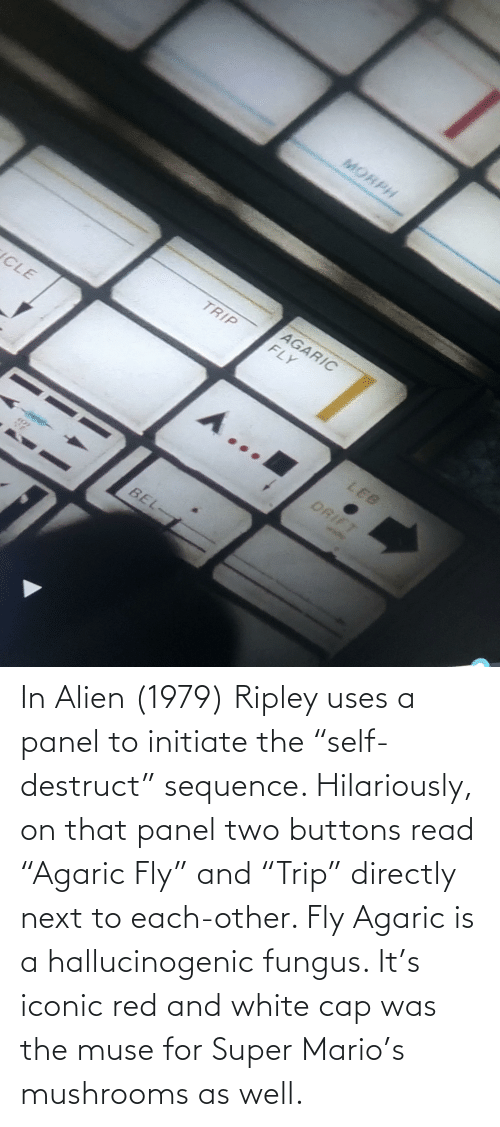 """Alien: In Alien (1979) Ripley uses a panel to initiate the """"self-destruct"""" sequence. Hilariously, on that panel two buttons read """"Agaric Fly"""" and """"Trip"""" directly next to each-other. Fly Agaric is a hallucinogenic fungus. It's iconic red and white cap was the muse for Super Mario's mushrooms as well."""