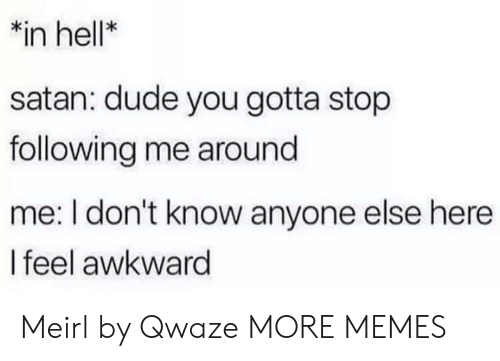 Dank, Dude, and Memes: *in hell*  satan: dude you gotta stop  following me around  me: I don't know anyone else here  I feel awkward Meirl by Qwaze MORE MEMES