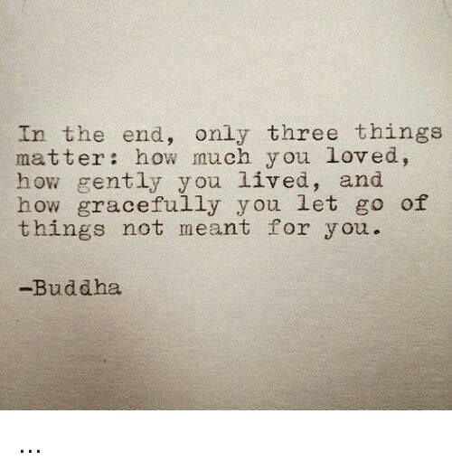 Buddha, How, and Three: In the end, only three things  matter: how much you loved,  how gently you lived, and  how gracefully you let go of  things not meant for you.  -Buddha ...