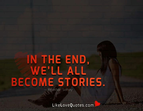 Memes, 🤖, and Com: IN THE END,  WE'LL ALL  BECOME STORIES.  Prakhar Sahay  LikeLoveQuotes.com