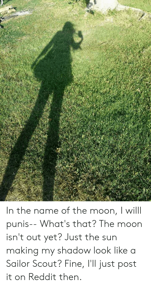 Reddit, Moon, and Sun: In the name of the moon, I willl punis-- What's that? The moon isn't out yet? Just the sun making my shadow look like a Sailor Scout? Fine, I'll just post it on Reddit then.