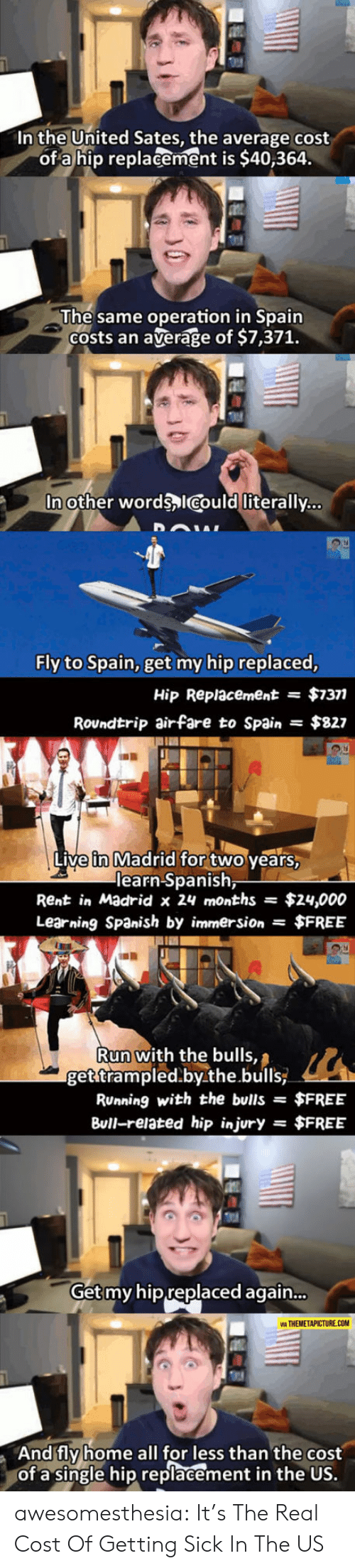 operation: In the United Sates, the average cost  of a hip replacement is $40,364.  The same operation in Spain  Costs an  average of $7,371.  In other words ICould literally...  Fly to Spain, get my hip replaced,  $7377  Hip Replacement  =  Roundtrip airfare to Spain  $827  Live in Madrid for two years,  learn Spanish,  Rent in Madrid x 24 months  $24,000  Learning Spanish by immersion $FREE  Run with the bulls,  get trampled.by.the.bulls  RUnning with the bulls =  $FREE  Bull-related hip injury  $FREE  =  Get my hip replaced again...  VIA THEMETAPICTURE.COM  And fly home all for less than the cost  of a single hip replacement in the US. awesomesthesia:  It's The Real Cost Of Getting Sick In The US