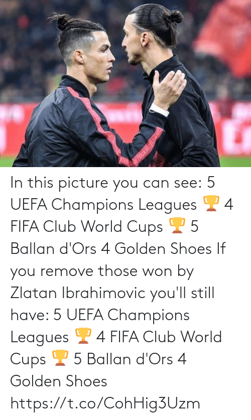 champions: In this picture you can see:  5 UEFA Champions Leagues 🏆 4 FIFA Club World Cups 🏆 5 Ballan d'Ors 4 Golden Shoes   If you remove those won by Zlatan Ibrahimovic you'll still have:   5 UEFA Champions Leagues 🏆 4 FIFA Club World Cups 🏆 5 Ballan d'Ors 4 Golden Shoes https://t.co/CohHig3Uzm