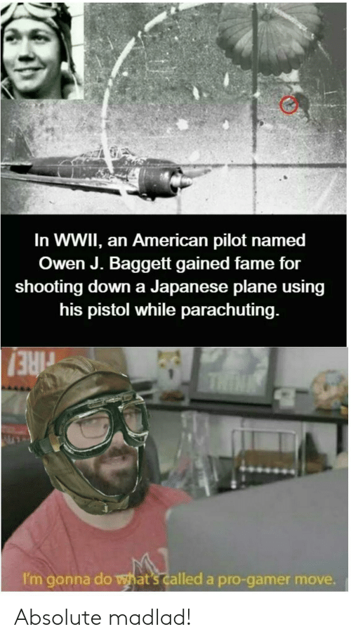 wwii: In WWII, an American pilot named  Owen J. Baggett gained fame for  shooting down a Japanese plane using  his pistol while parachuting.  THIN  rIRE!  I'm gonna do what's called a pro-gamer move. Absolute madlad!