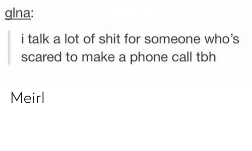 Phone, Shit, and Tbh: Ina:  i talk a lot of shit for someone who's  scared to make a phone call tbh Meirl