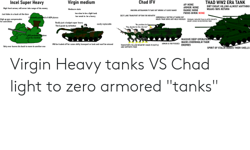"Another One, Mediocre, and Virgin: Incel Super Heavy  Chad IFV  Virgin medium  THAD WW2 ERA TANK  DIRT CHEAP, KILLING ALMOST ANYTHING  MEANS 100% RETURN  AP: NONE  ARMOR: NONE  RANGE: NONE  FUCKS GIVEN: NONE  High front armor, will never into range of his enemy  Mediocre stats  UNICORN AUTOCANNON TO TAKE OUT VIRGINS AT CLOSE RANGE  too slow to be a light tank  too weak to be a heavy  Just hides in a bush all the time  BEST LAND TRANSPORT OPTION FOR INFANTRY  Constantly paranoid of AGM planes  UNIRONICALLY BETTER AT TAKING OUT  HELOS THAN SOME ANTI HELO MISSILES PROBABLY CHEAPER THAN CLUSTER ROCKETS  High ap gun compensates  for somethina  DEUZ  ENEMY LOSSES ON DESTROYING THEM  Really just a budget super heavy  easily replacable  ""No problem bro""  ""Hey, thanks for the ride bro""  Third grade by definition  Will probably betaken  out by clusters  MASSIVE DEEP OPERATIONS  WAVES OVERWHELM THEIR  ENEMIES  ARMOR IS FOR PUSSIES  Will be traded off for some shitty transport or tank and won't be missed  TRANSPORTS FELLOW INFANTRY CHADS TO BATTLE  AND SUPPORTS THEM  Only ever leaves his bush to move to another one  SPIRIT OF STALIN GUIDES THEIR SHELLS Virgin Heavy tanks VS Chad light to zero armored ""tanks"""