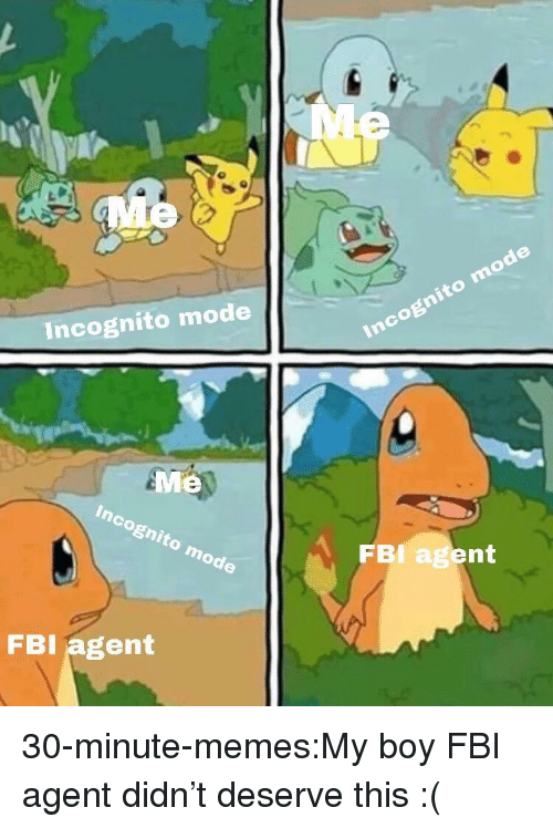 Fbi, Memes, and Target: Incognito mode  Me  FBI agent  FBI agent 30-minute-memes:My boy FBI agent didn't deserve this :(