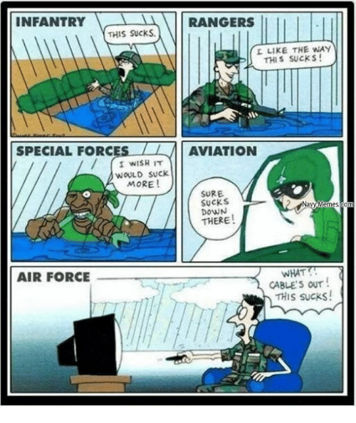 forceful: INFANTRY  RANGERS  THIS Sucks.  L LIKE THE WAY  THIS SUCKS!  SPECIAL FORC  LL AVIATION  I WISH IT  WOULD SUCK.  MORE!  SURE.  SUCKS  THERE  WHAT  AIR FORCE  CABLES OUT  THIS sucks!
