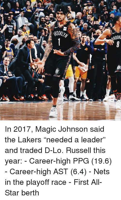 """All Star, Los Angeles Lakers, and Magic Johnson: infor  ROOK  2t In 2017, Magic Johnson said the Lakers """"needed a leader"""" and traded D-Lo.  Russell this year: - Career-high PPG (19.6) - Career-high AST (6.4) - Nets in the playoff race - First All-Star berth"""