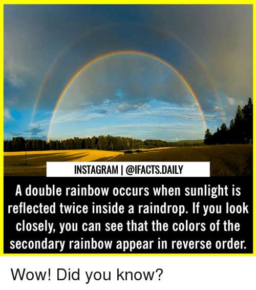 Instagram, Memes, and Wow: INSTAGRAM   @lFACTS.DAILY  A double rainbow occurs when sunlight is  reflected twice inside a raindrop. If you look  closely, you can see that the colors of the  secondary rainbow appear in reverse ordeir. Wow! Did you know?