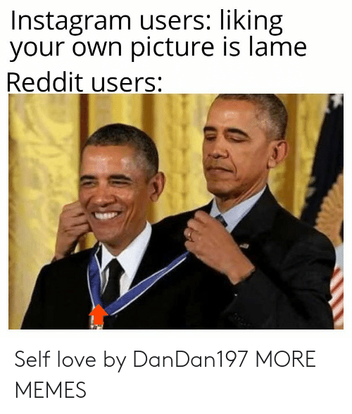 lame: Instagram users: liking  your own picture is lame  Reddit users: Self love by DanDan197 MORE MEMES