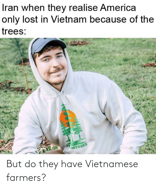 Trees: Iran when they realise America  only lost in Vietnam because of the  trees:  MTREES But do they have Vietnamese farmers?