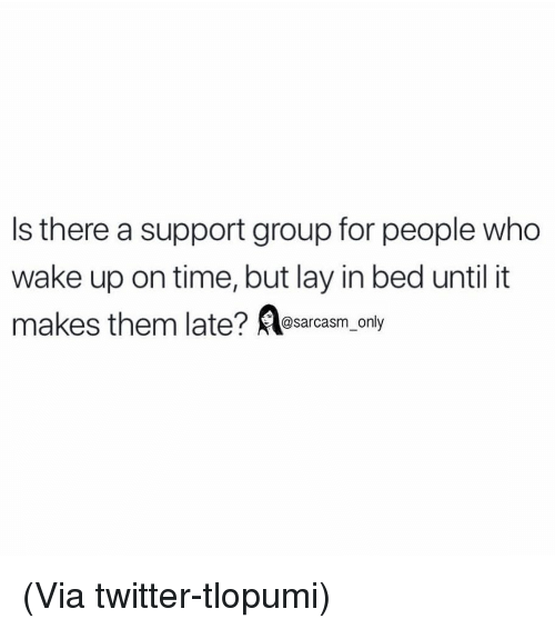 Funny, Memes, and Twitter: Is there a support group for people who  wake up on time, but lay in bed until it  @sarcasm_only (Via twitter-tlopumi)
