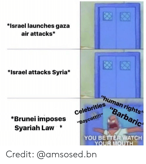 """human: *Israel launches gaza  air attacks*  *Israel attacks Syria*  """"human rights'  """"Barbaric  """"Boycott!!  Syariah Law *  iahi ^Oses Celebrities  YOU BETTER WATCH  YOUR MOUTH Credit: @amsosed.bn"""