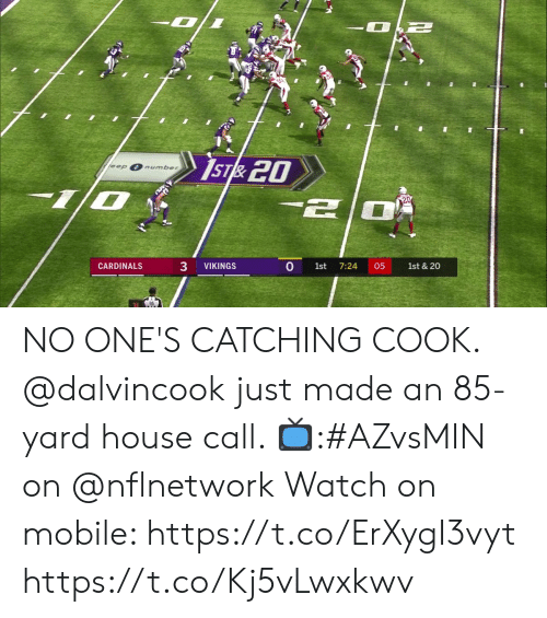 Memes, Cardinals, and House: IST& 20  eep  number  20  3  CARDINALS  VIKINGS  1st  7:24  05  1st & 20 NO ONE'S CATCHING COOK.  @dalvincook just made an 85-yard house call.   📺:#AZvsMIN on @nflnetwork  Watch on mobile: https://t.co/ErXygI3vyt https://t.co/Kj5vLwxkwv