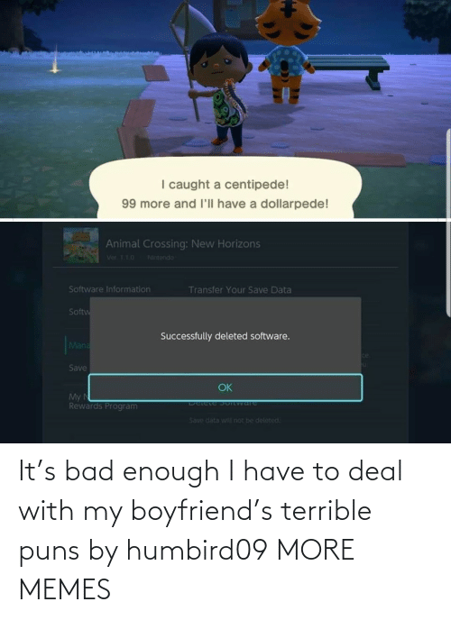 Boyfriend: It's bad enough I have to deal with my boyfriend's terrible puns by humbird09 MORE MEMES