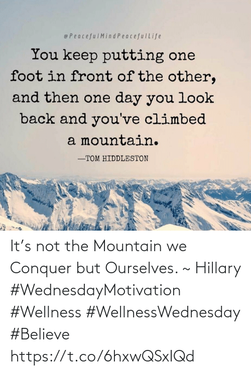 Love for Quotes: It's not the Mountain we Conquer  but Ourselves. ~ Hillary   #WednesdayMotivation #Wellness  #WellnessWednesday #Believe https://t.co/6hxwQSxIQd