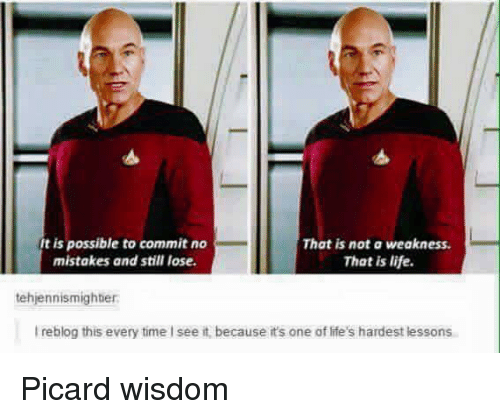 picard: It is possible to commit no  That is not a weakness.  mistakes and still lose.  That is life.  tehjennismighter  reblog this every time Isee it because it's one of ife's hardest lessons Picard wisdom