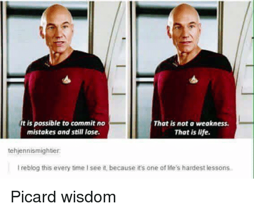 picard: It is possible to commit no  That is not a weakness.  mistakes and still lose.  That is life.  tehjennismighter.  lreblog this every time I see it, because it's one of life's hardest lessons Picard wisdom
