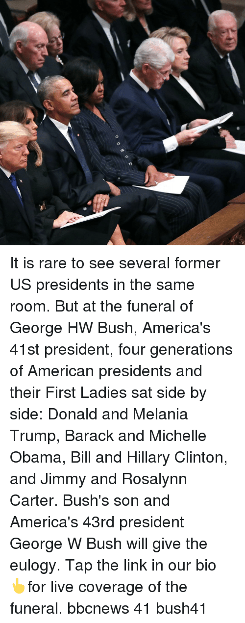 Hillary Clinton: It is rare to see several former US presidents in the same room. But at the funeral of George HW Bush, America's 41st president, four generations of American presidents and their First Ladies sat side by side: Donald and Melania Trump, Barack and Michelle Obama, Bill and Hillary Clinton, and Jimmy and Rosalynn Carter. Bush's son and America's 43rd president George W Bush will give the eulogy. Tap the link in our bio 👆for live coverage of the funeral. bbcnews 41 bush41