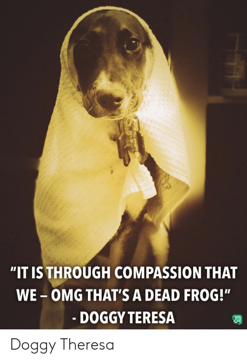 """Compassion: """"IT IS THROUGH COMPASSION THAT  WE-OMG THAT'S A DEAD FROG!""""  - DOGGY TERESA Doggy Theresa"""