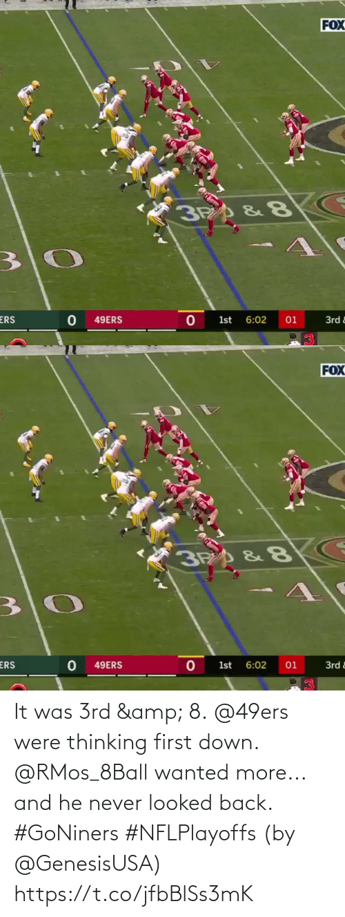thinking: It was 3rd & 8. @49ers were thinking first down.  @RMos_8Ball wanted more... and he never looked back. #GoNiners #NFLPlayoffs  (by @GenesisUSA) https://t.co/jfbBlSs3mK