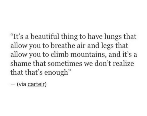"""Beautiful, Air, and Shame: """"It's a beautiful thing to have lungs that  allow you to breathe air and legs that  allow you to climb mountains, and it's a  shame that sometimes we don't realize  that that's enough""""  - (via carteir)"""