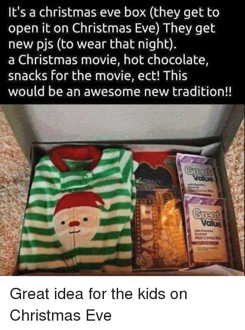 pjs: It's a christmas eve box (they get to  open it on Christmas Eve) They get  new pjs (to wear that night).  a Christmas movie, hot chocolate,  snacks for the movie, ect! This  would be an awesome new tradition!! Great idea for the kids on Christmas Eve