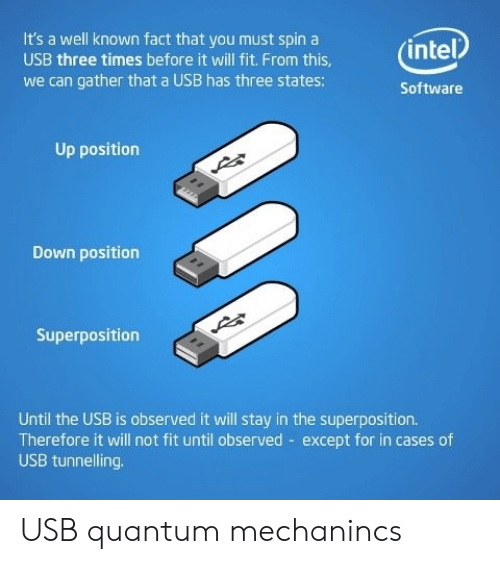 usb: It's a well known fact that you must spin a  (intel  USB three times before it will fit. From this,  we can gather that a USB has three states:  Software  Up position  Down position  Superposition  Until the USB is observed it will stay in the superposition.  Therefore it will not fit until observed except for in cases of  USB tunnelling USB quantum mechanincs