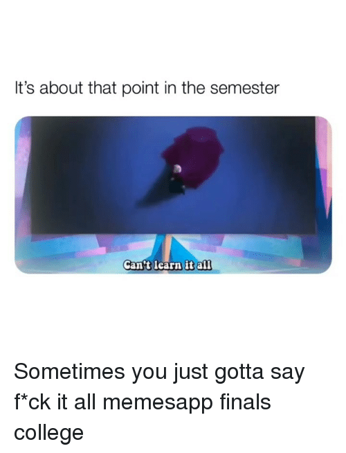 Learn It: It's about that point in the semester  Cantt learn it al1 Sometimes you just gotta say f*ck it all memesapp finals college