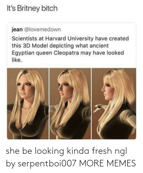 Ancient: It's Britney bitch  jean @lovemedown  Scientists at Harvard University have created  this 3D Model depicting what ancient  Egyptian queen Cleopatra may have looked  like. she be looking kinda fresh ngl by serpentboi007 MORE MEMES