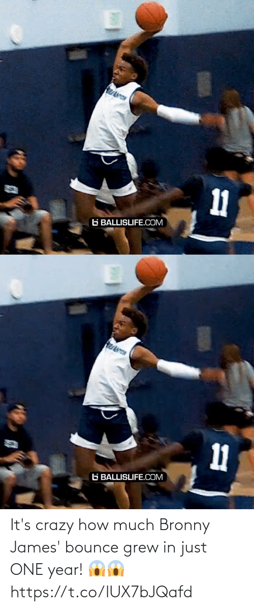 crazy: It's crazy how much Bronny James' bounce grew in just ONE year! 😱😱 https://t.co/lUX7bJQafd