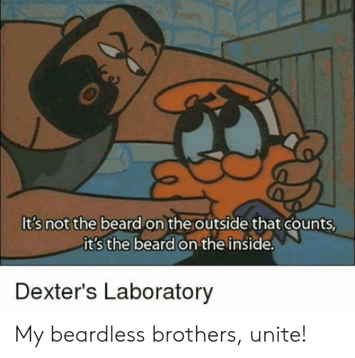Beard, Dexter's Laboratory, and Brothers: It's not the beard on the outside that counts  it s the beard on the inside  Dexter's Laboratory My beardless brothers, unite!
