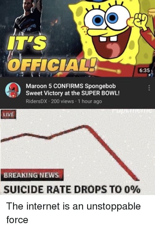 Bailey Jay, Internet, and News: IT'S  OFFICIAL  6:35  Maroon 5 CONFIRMS Spongebob  Sweet Victory at the SUPER BOWL!  RidersDX 200 views 1 hour ago  LIVE  BREAKING NEWS  SUICIDE RATE DROPS TO 090