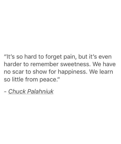 """its so hard: """"It's so hard to forget pain, but it's even  harder to remember sweetness. We have  no scar to show for happiness. We learn  so little from peace.""""  Chuck Palahniuk"""
