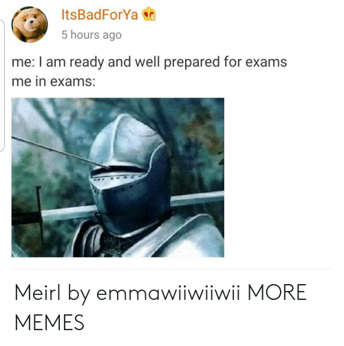 Dank, Memes, and Target: ItsBadForYa  5 hours ago  me: I am ready and well prepared for exams  me in exams: Meirl by emmawiiwiiwii MORE MEMES
