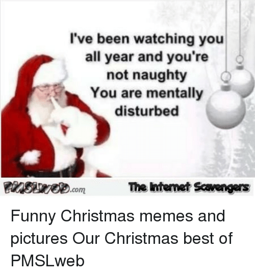 Christmas, Funny, and Memes: I've been watching you  all year and you're  not naughty  You are mentally  disturbed  The Intemet Scavengers <p>Funny Christmas memes and pictures  Our Christmas best of  PMSLweb </p>