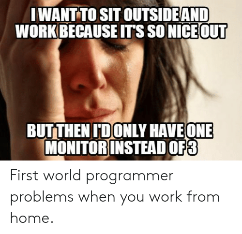 Because Its: IWANT TO SIT OUTSIDEAND  WORK BECAUSE IT'S SO NICE OUT  BUTTHEN IDONLY HAVEONE  MONITOR INSTEAD OF3 First world programmer problems when you work from home.