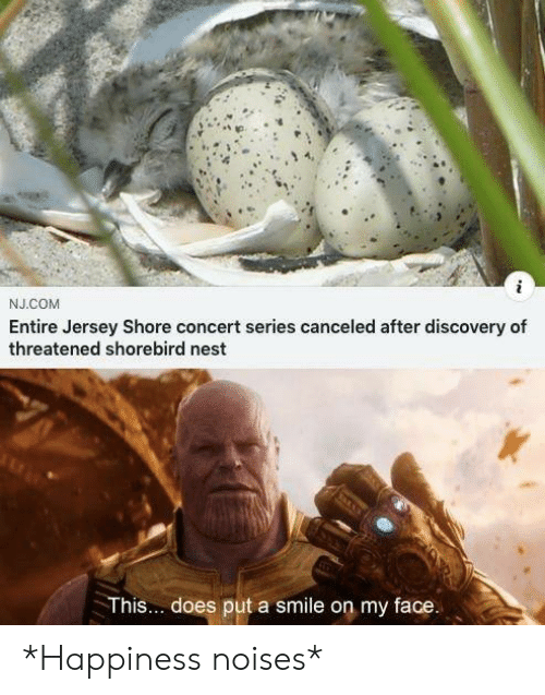 Nest, Smile, and Happiness: J.COM  Entire Jersey Shore concert series canceled after discovery of  threatened shorebird nest  This... does put a smile on my face. *Happiness noises*