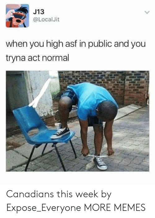 Dank, Memes, and Target: J13  @LocalJit  when you high asf in public and you  tryna act normal Canadians this week by Expose_Everyone MORE MEMES