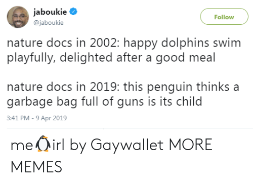 Dank, Guns, and Memes: Jaboukie  @jaboukie  Follow  nature docs in 2002: happy dolphins swim  playfully, delighted after a good meal  nature docs in 2019: this penguin thinks a  garbage bag full of guns is its child  3:41 PM-9 Apr 2019 me🐧irl by Gaywallet MORE MEMES
