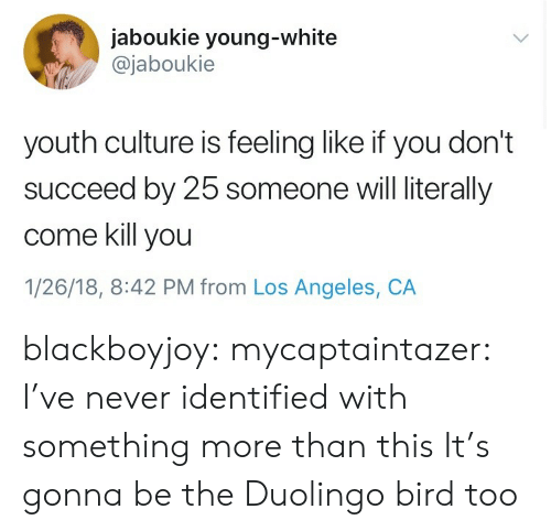 Target, Tumblr, and Blog: jaboukie young-white  @jaboukie  youth culture is feeling like if you don't  succeed by 25 someone will literally  come kill you  1/26/18, 8:42 PM from Los Angeles, CA blackboyjoy: mycaptaintazer: I've never identified with something more than this  It's gonna be the Duolingo bird too