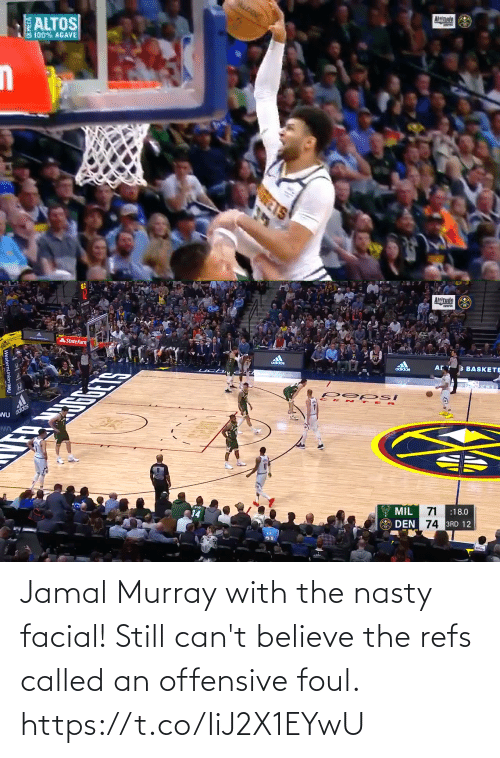 believe: Jamal Murray with the nasty facial! Still can't believe the refs called an offensive foul. https://t.co/IiJ2X1EYwU