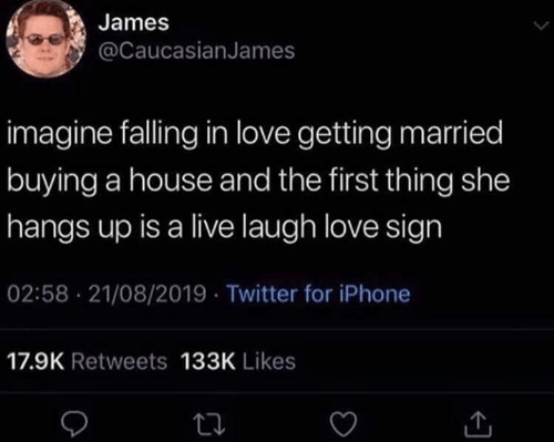 getting married: James  @CaucasianJames  imagine falling in love getting married  buying a house and the first thing she  hangs up is a live laugh love sign  02:58 21/08/2019 Twitter for iPhone  17.9K Retweets 133K Likes