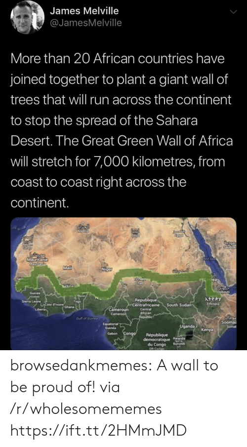 Africa, Run, and Tumblr: James Melville  @JamesMelville  More than 20 African countries have  joined together to plant a giant wall of  trees that wil run across the continent  to stop the spread of the Sahara  Desert. The Great Green Wall of Africa  will stretch for 7,000 kilometres, from  coast to coast right across the  continent.  MSuntanie  Mal  Niget  SIGan  TCha  urk  Duibouti  Goinee  oures  Sea Le rchana  ATPRY  Republique  Centrafricaine  Etvo  South Sudan  Cameroun  Camen  Lberia  Centra  African  Realic  Gut of Ouele  Sooma  Sormal  Equaterial  Guines  Uganda  Kenya  Gabon Congo  Republique  democratique Rnda  du Congo  DR Cango  Buruns browsedankmemes:  A wall to be proud of! via /r/wholesomememes https://ift.tt/2HMmJMD