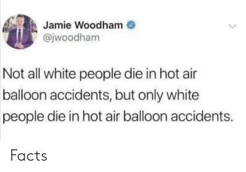 all white: Jamie Woodham  @jwoodham  Not all white people die in hot air  balloon accidents, but only white  people die in hot air balloon accidents. Facts