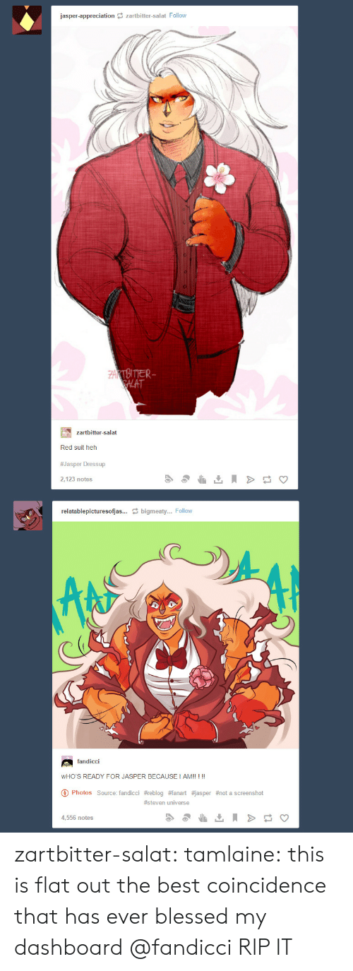 Steven Universe: jasper-appreciation zartbitter-salat Follow  ZAKTBITTER  SALAT  zartbitter-salat  Red suit heh  #Jasper Dressup  2,123 notes  relatablepicturesofjas... bigmeaty... Follow  fandicci  WHO'S READY FOR JASPER BECAUSE I AM!! ! !!  Photos Source: fandicci #reblog #fanart #jasper #not a screens hot  #steven universe  4,556 notes zartbitter-salat:  tamlaine:  this is flat out the best coincidence that has ever blessed my dashboard   @fandicci RIP IT
