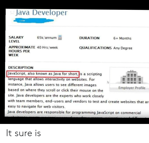 salary: Java Developer  SALARY  LEVEL  65k/annum  DURATION  6+ Months  APPROXIMATE 40 Hrs/week  HOURS PER  QUALIFICATIONS Any Degree  WEEK  DESCRIPTION  JavaScript, also known as Java for short, is a scripting  Tanguage that allows interactivity on websites. For  instance, Java allows users to see different images  based on where they scroll or click their mouse on the  Employer Profile  site. Java developers are the experts who work closely  with team members, end-users and vendors to test and create websites that ar  easy to navigate for web visitors  Java developers are responsible for programming JavaScript on commercial It sure is