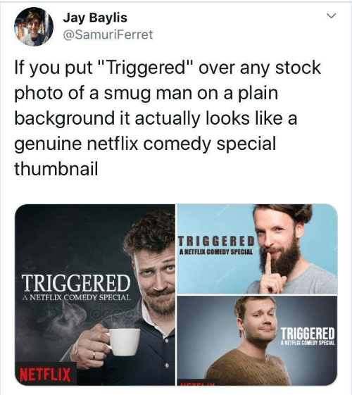 "Jay, Netflix, and Comedy: Jay Baylis  @SamuriFerret  If you put""Triggered"" over any stock  photo of a smug man on a plain  background it actually looks like a  genuine netflix comedy special  thumbnail  TRIGGERED  ANETFLIX COMEDY SPECIAL  TRIGGERED  A NETFLIX COMEDY SPECIAL  deeas  TRIGGERED  A NETFLIX COMEDY SPECIAL  NETFLIX"