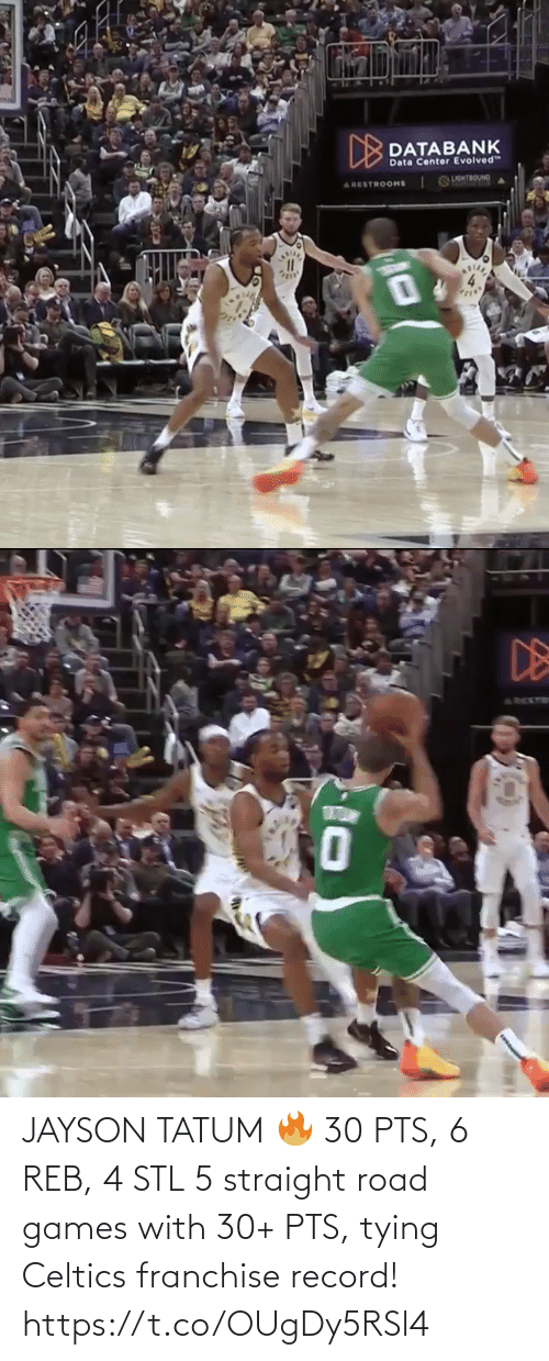 Record: JAYSON TATUM 🔥 30 PTS, 6 REB, 4 STL  5 straight road games with 30+ PTS, tying Celtics franchise record!    https://t.co/OUgDy5RSl4